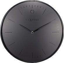 NexTime Wall Clock, Metal, Black, 40