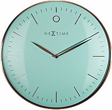 NexTime Wall Clock, Turquoise/Rose Gold, 40