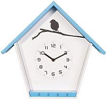 NexTime Wall Clock, Wood, Blue, 30.5 x 33