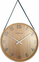 NexTime Wall Clock, Wood, Blue, 40