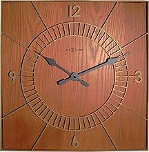 NexTime Wall Clock, Wood, Brown, 50 x 50