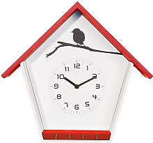 NexTime Wall Clock, Wood, Red, 30.5 x 33