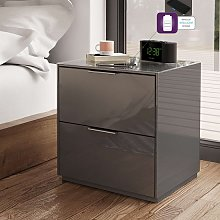 Nexus Bedside Cabinet In Grey High Gloss With Two