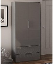 Nexus Wooden Wardrobe In Grey High Gloss With Two