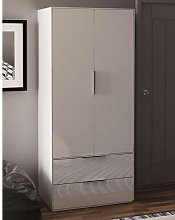 Nexus Wooden Wardrobe In White High Gloss With Two