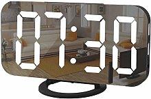 NEYOANN Digital Alarm Clock Large Mirrored LED