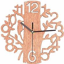 NEYOANN Tree Shaped Wooden Wall Clock House Living