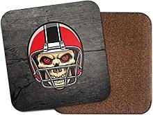 NFL Football Skull Cork Backed Drinks Coaster for