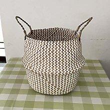 NGAUAOKM Foldable Handmade Seagrass Storage Basket