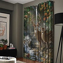NHBTGH Blackout Curtain Green Animal Deer Printed