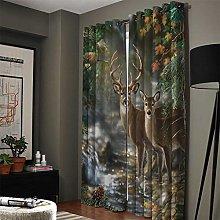 NHBTGH Blackout Curtain Green Animal Deer Printed
