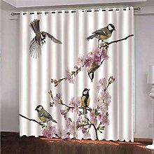 NHBTGH Blackout Curtains Flowers And Birds