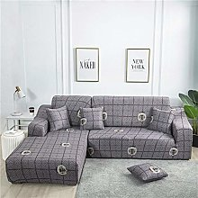 NHBTGH Stretchy Sofa Cover Grey Grid Slipcovers