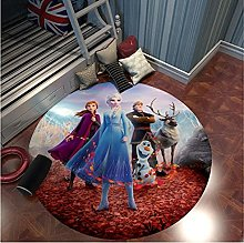 NHGBV Frozen Round Rug Anna Elsa Play Mat Kids