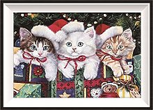 NHJC Paintings on Canvas,Christmas Cat,Canvas Wall