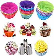 nhnhn Silicon Cup Cakes Molds, Cup Cake Pan 24pcs