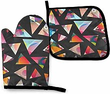 NI Funky Triangle Seamless Pattern Oven Mitts and