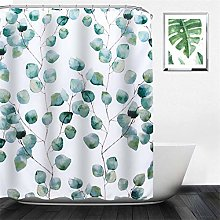 NIBESSER Green Shower Curtain with 12pcs Hooks