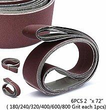 Nice 6pcs/Set 2 X 72 Abrasive Sanding Sander Belt