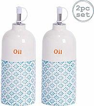Nicola Spring 2pc Hand-Printed Olive Oil Bottle
