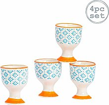 Nicola Spring 4 Piece Hand-Printed Egg Cup Set -