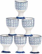 Nicola Spring Hand-Printed Egg Cup Set - Japanese