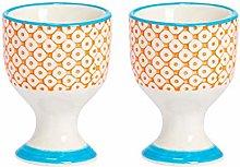 Nicola Spring Hand-Printed Egg Cup Set - Porcelain