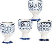 Nicola Spring Porcelain Breakfast Egg Cups - Blue
