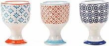 Nicola Spring Porcelain Printed Breakfast Egg Cups