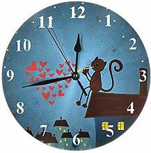 Night Clock Cat Heart Moon Star Night City Tree