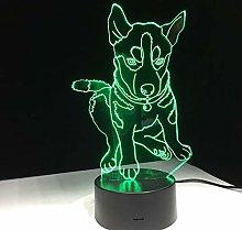 Night Light 3D Led Lamp for Dogs Husky 7 Colors