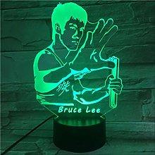 Night Light Bruce Lee Nunchakus Figure USB 3D Led