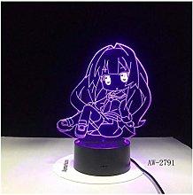 Night Light Cartoon Figure Girl 3D Lamp Led USB