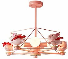 Night Light Cartoon Princess Piggy Pink Chandelier