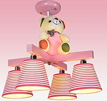 Night Light Striped Cartoon Bear Chandelier