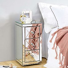 Nightstand Mirror Glass Storage Cabinet with 3