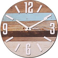 NIKKY HOME Wooden Stripe Round Analog Wall Clock