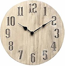 NIKKY HOME Wooden Wall Clock Mute Vintage