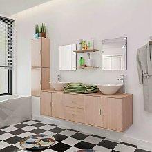 Nine Piece Bathroom Furniture and Basin Set Beige