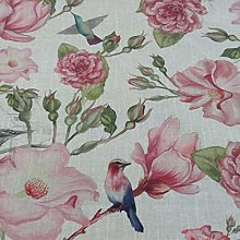 Nirvana Bird Garden Linen/Rose Cotton