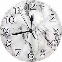 NIUMM Wall Clock Gray Marble Desk Clocks