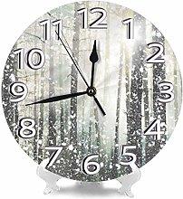 NIUMM Wall Clock Magical Forest Silver Gray Desk