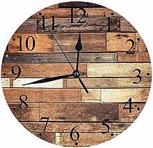NIUMM Wall Clock Silent Wooden Rustic Floor Planks