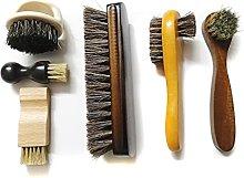 NJBYX 6 Pcs Set Horse Hair Pig Bristle Shoe Brush,