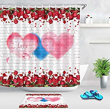 NJMRZX Floral Wall Shower Curtain Red Rose Petals