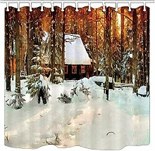 NJMRZX Oil Paintings Shower Curtains Winter Log