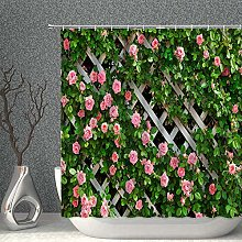 NJMRZX Pink Roses Decor Shower Curtain Rose