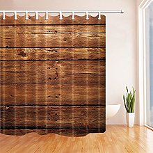 NJMRZX Rustic Wooden Shower Curtains Brown Wood