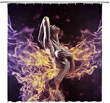 NJMRZX Sexy Girl Decor Shower Curtain Naked Pretty