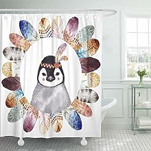 NJMRZX Shower Curtain Colorful Watercolor Boho